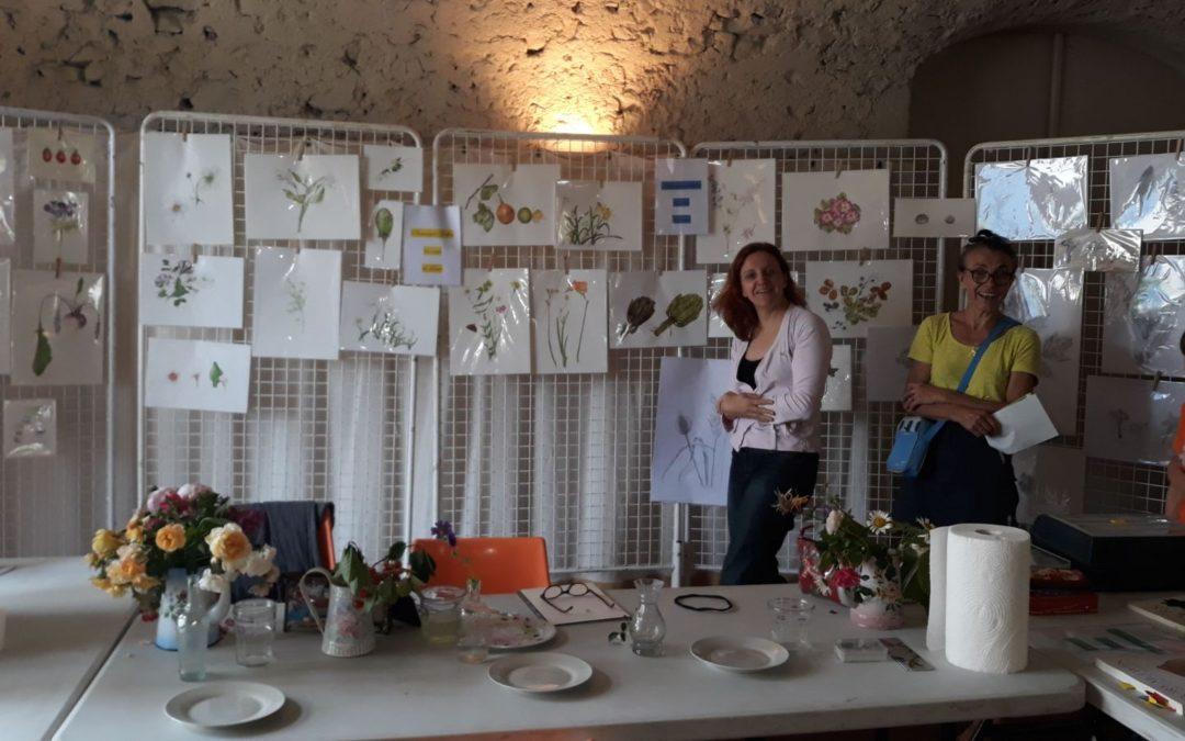Exposition des travaux des élèves de l'atelier au château du Touvet lors de la journée des plantes
